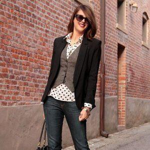 Zara Brown/Black Houndstooth Tweed Vest